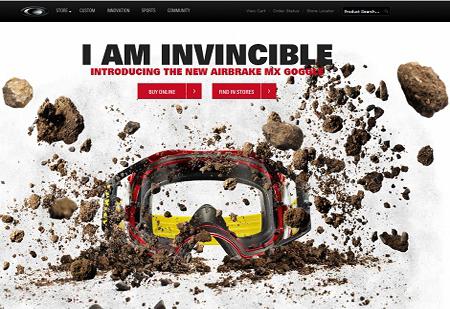 Parallax scrolling webdesign inspiration: Oakley Airbrake MX